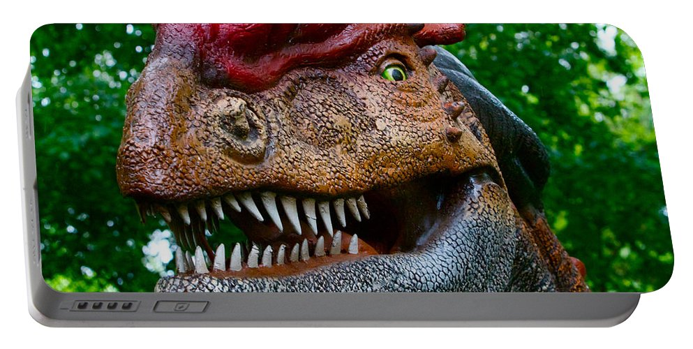 Dinosaur Portable Battery Charger featuring the photograph Dino In The Bronx Four by Alice Gipson