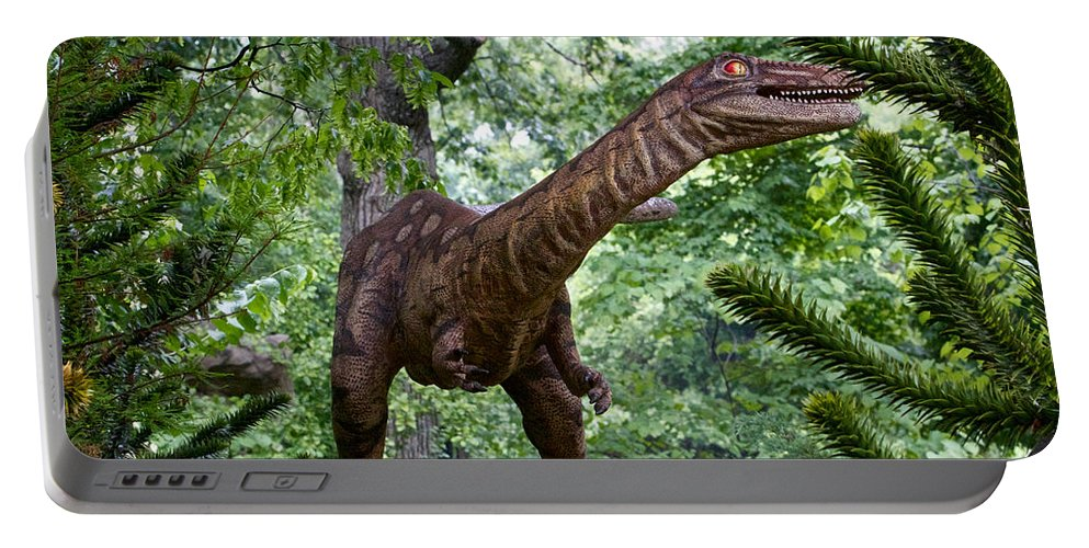 Dinosaur Portable Battery Charger featuring the photograph Dino In The Bronx Three by Alice Gipson
