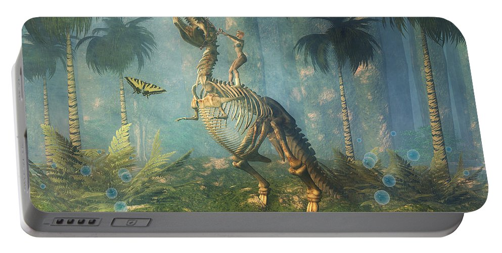 Bubbles Portable Battery Charger featuring the digital art Dinosaur Warrior by Carol and Mike Werner