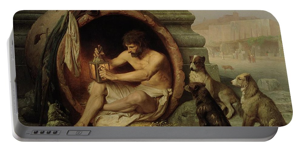 Diogenes Portable Battery Charger featuring the painting Diogenes by Jean Leon Gerome