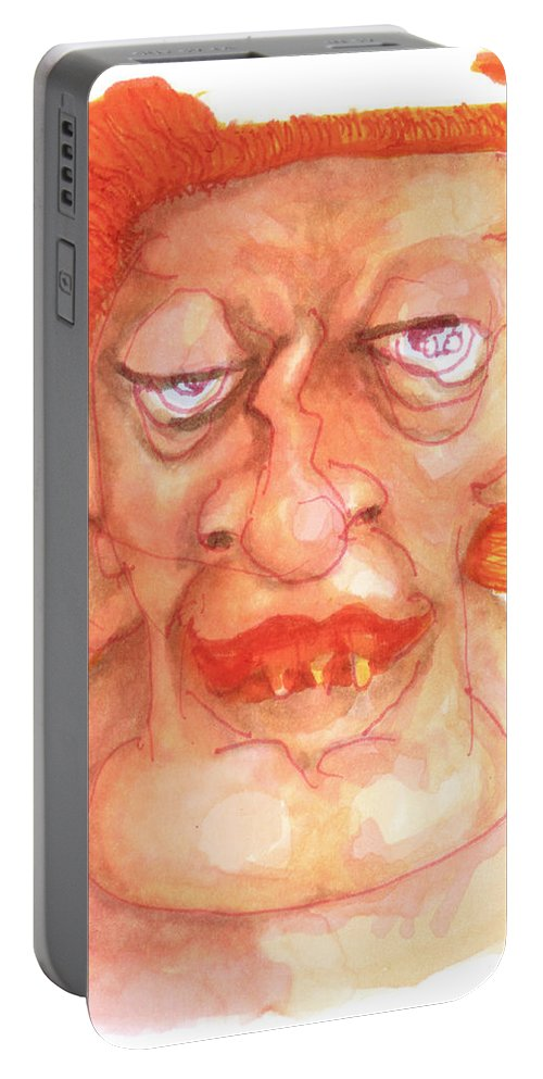 Hunky Portable Battery Charger featuring the drawing Dirk Masqewlyn by Del Gaizo