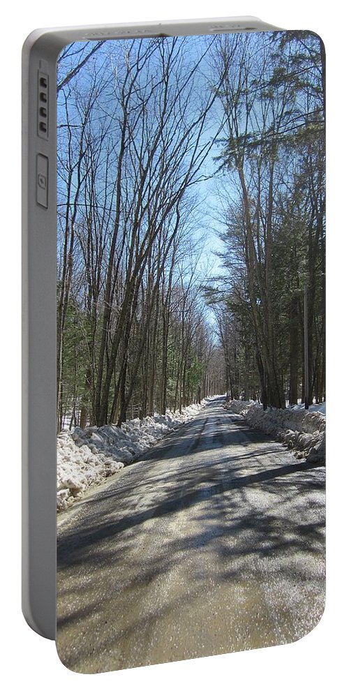 Trees Portable Battery Charger featuring the photograph Dirt Road In March by MTBobbins Photography