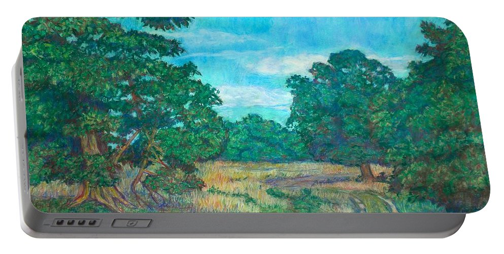 Landscape Portable Battery Charger featuring the painting Dirt Road Near Rock Castle Gorge by Kendall Kessler