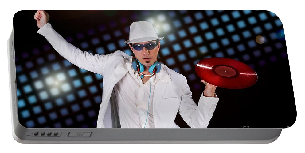 Disco Portable Battery Charger featuring the photograph Disco Dj by Jt PhotoDesign