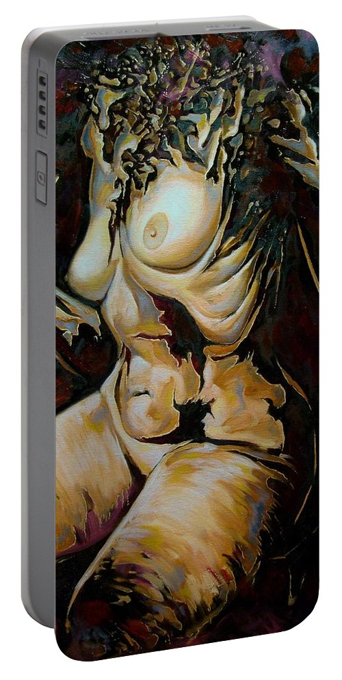 Abstract Portable Battery Charger featuring the painting Disintegration Of Aestheticism by Darwin Leon