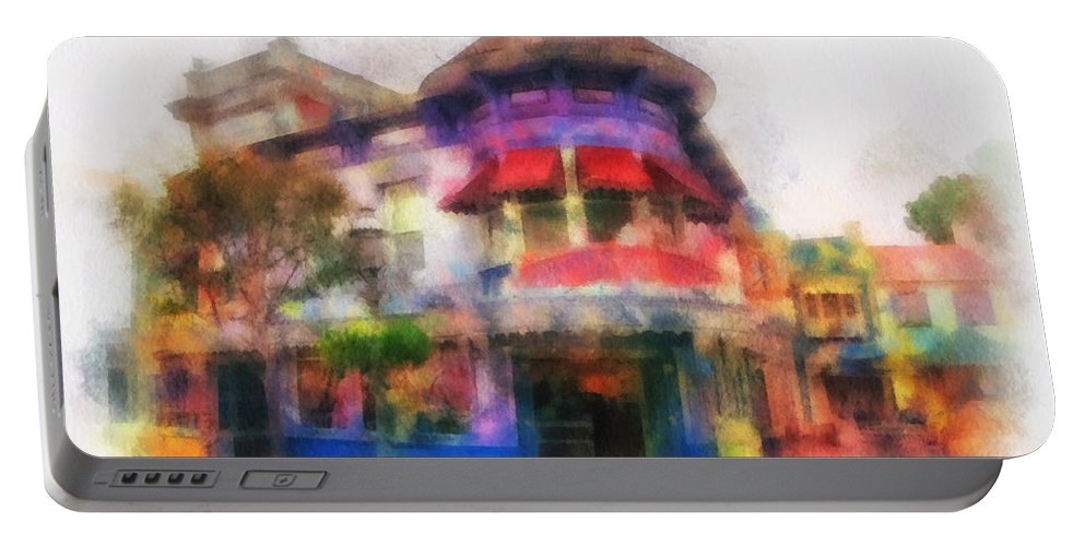 Disney Portable Battery Charger featuring the photograph Disney Clothiers Main Street Disneyland Photo Art 01 by Thomas Woolworth