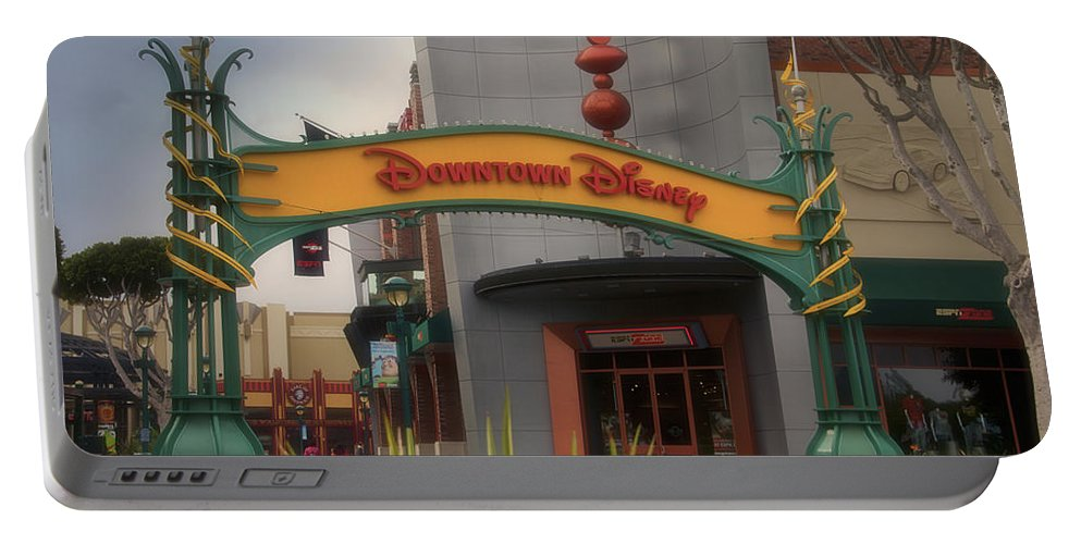 Disney Portable Battery Charger featuring the photograph Disneyland Downtown Disney Signage 03 by Thomas Woolworth