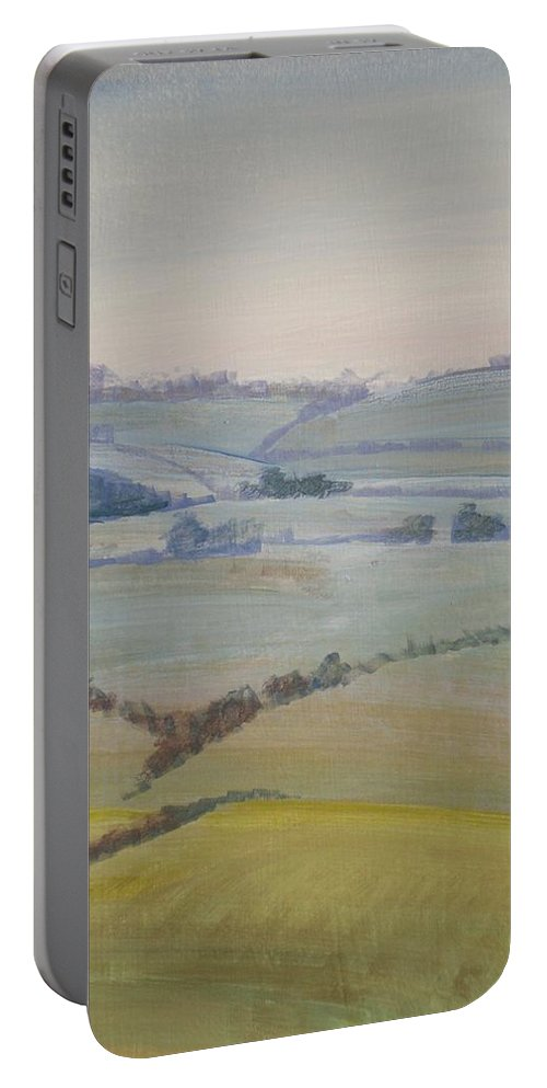 Landscape Portable Battery Charger featuring the painting Distant Hills Fields And Hedges Painting by Mike Jory