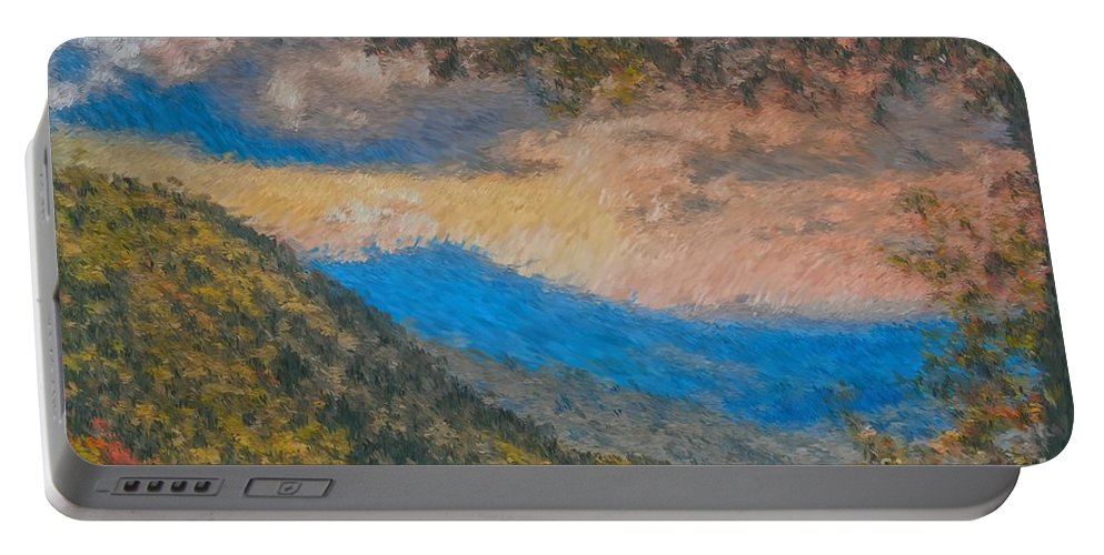 Distant Portable Battery Charger featuring the photograph Distant Mountains - Digital Impression Paint by Scott Hervieux
