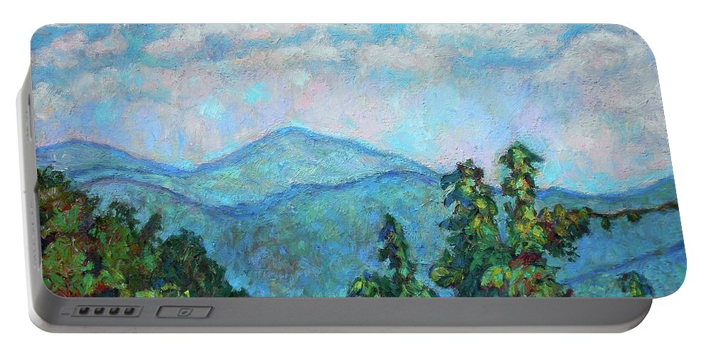 Kendall Kessler Portable Battery Charger featuring the painting Distant View Of Peaks Of Otter by Kendall Kessler