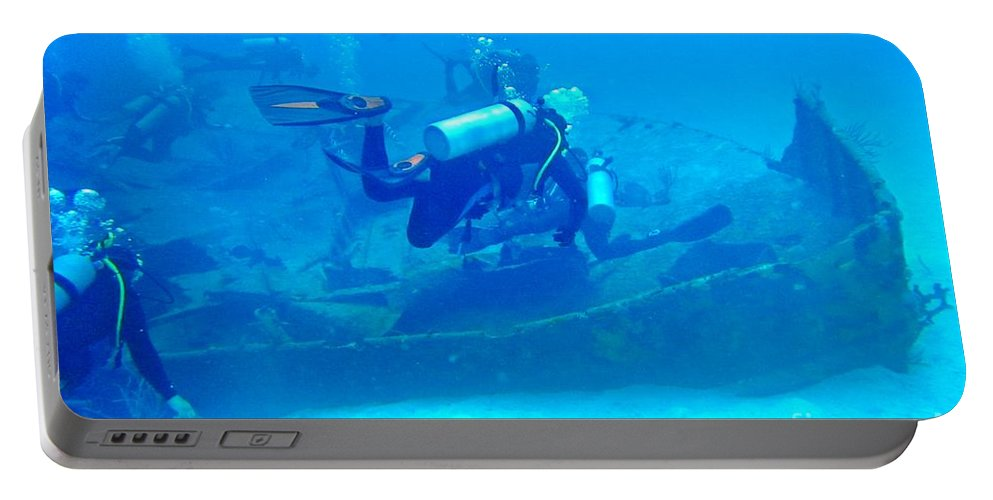 Ship Wreak Art Portable Battery Charger featuring the photograph Diving The James Bond Movie Wreaks by John Malone