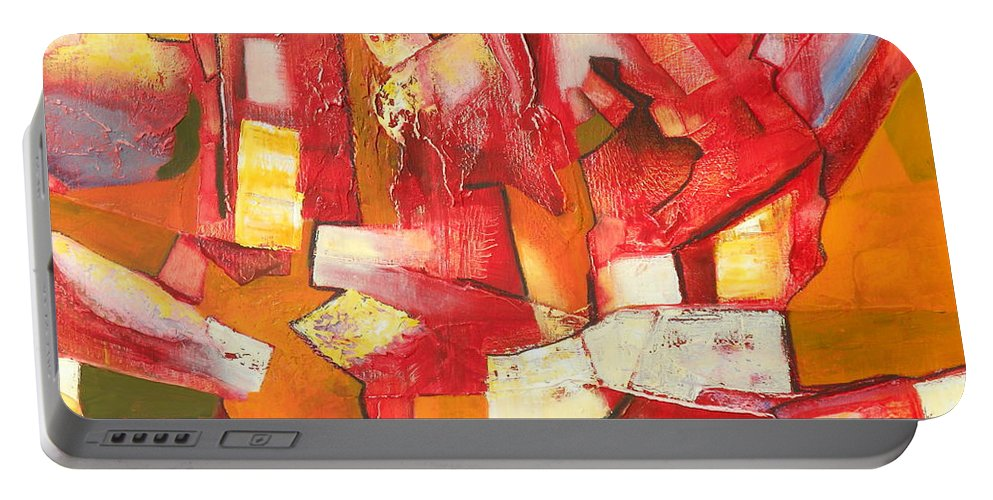 Abstract Portable Battery Charger featuring the painting Divisive Discourse by Danielle Nelisse
