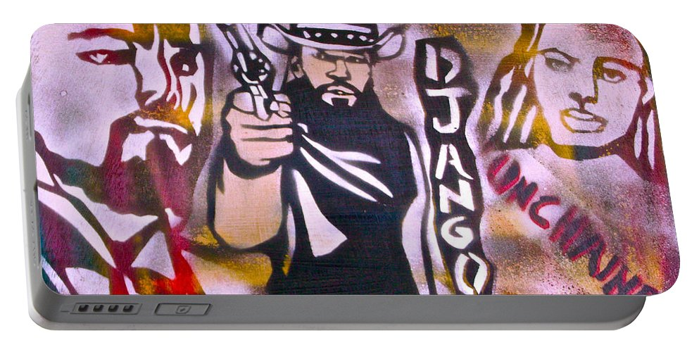 Hip Hop Portable Battery Charger featuring the painting Django Blood Red by Tony B Conscious