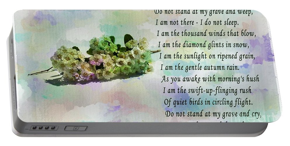 Do Not Stand At My Grave And Weep Portable Battery Charger featuring the photograph Do Not Stand At My Grave And Weep by Barbara Griffin