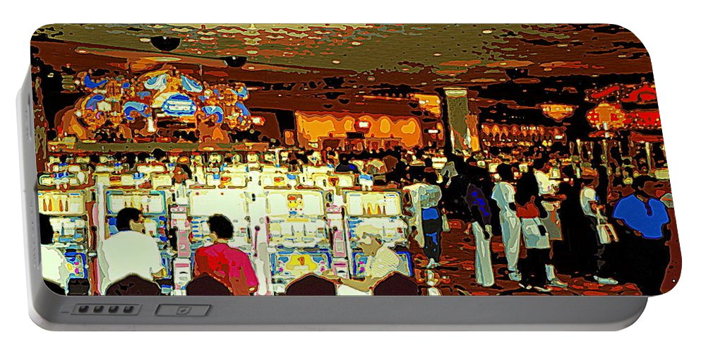 Colorful Casino Scenes Portable Battery Charger featuring the painting Do You Come Here Often ? Casino Slot Machine Pick Up Lines As You Gamble Your Life Savings Away by Carole Spandau