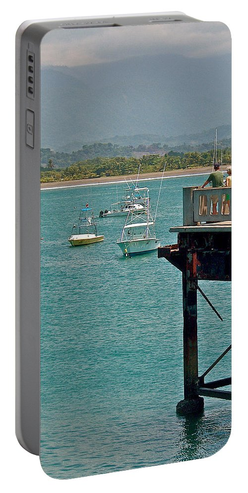 Dock Overlooking Quepos Bay In Costa Rica Portable Battery Charger featuring the photograph Dock Overlooking Quepos Bay-costa Rica by Ruth Hager