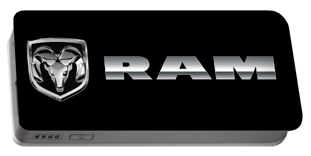 Dodge Ram Portable Battery Charger featuring the photograph Dodge Ram Logo by Carlos Diaz