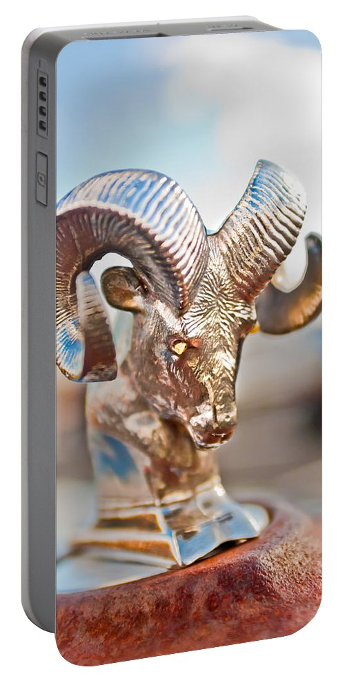 Dodge Ram Hood Ornament Portable Battery Charger featuring the photograph Dodge Ram Hood Ornament 3 by Jill Reger