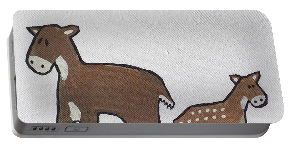 Doe Portable Battery Charger featuring the painting Doe And Fawn by Sam Soet