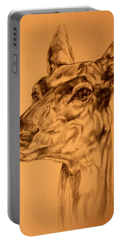 Deer Portable Battery Charger featuring the drawing Doe Sketch by Derrick Higgins