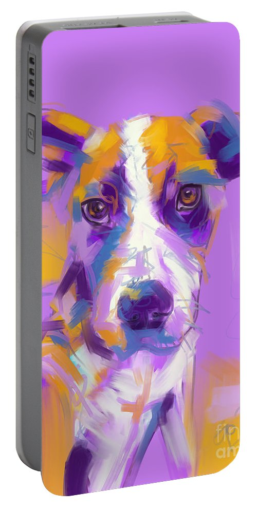 Dog Portable Battery Charger featuring the painting Dog Charlie by Go Van Kampen