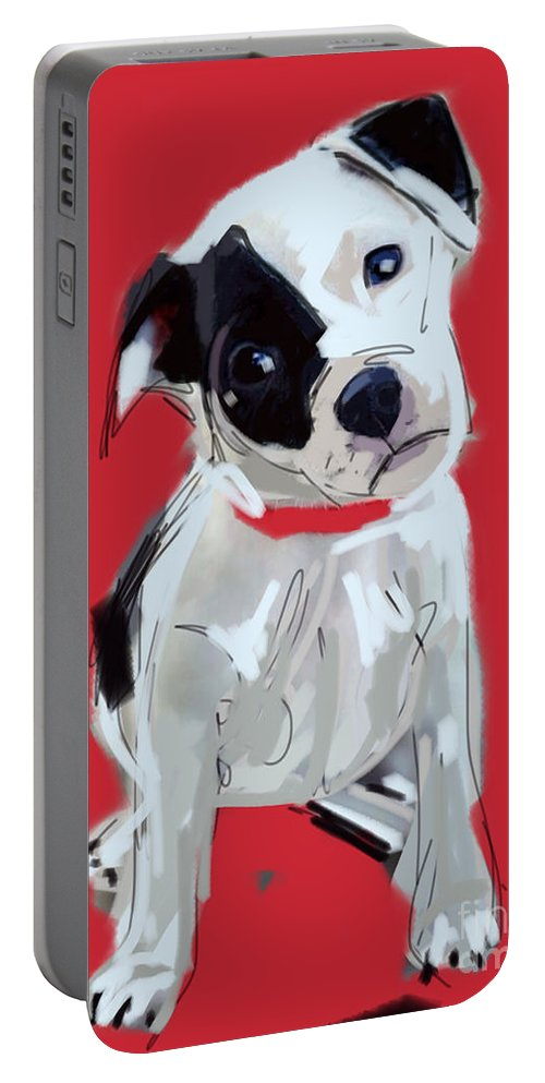Dog Portable Battery Charger featuring the painting Dog Doggie Red by Go Van Kampen
