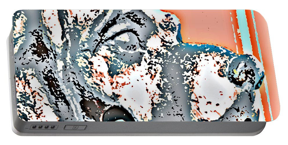 Digital Photograph Portable Battery Charger featuring the digital art Dog Iron Door Knocker by Laurie Pike