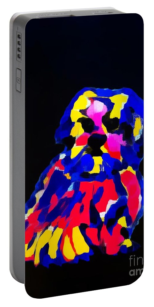 Dog Portable Battery Charger featuring the painting dog-Lahasa Apsos Tibetin Pooch Impression by Saundra Myles