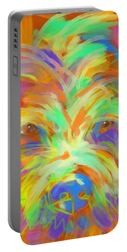 Dog Portable Battery Charger featuring the painting Dog Matze by Go Van Kampen