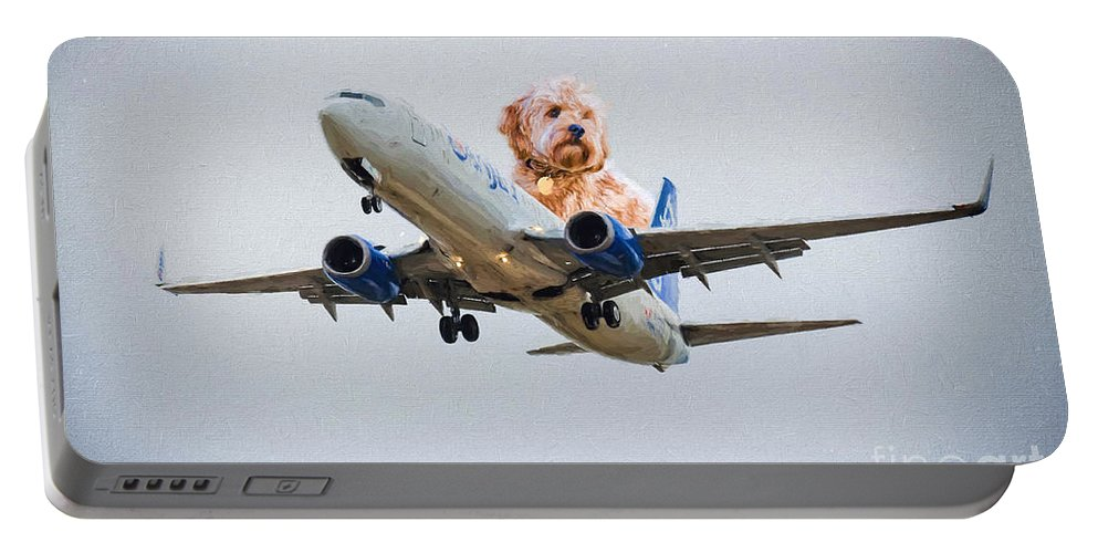 Airline Portable Battery Charger featuring the photograph Dog Pilot by Les Palenik