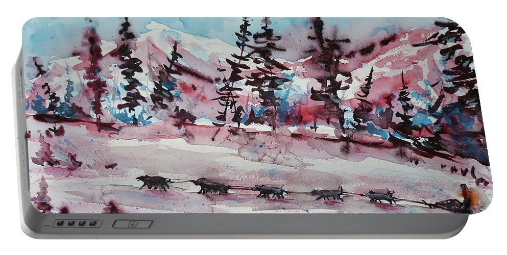 Dogs Portable Battery Charger featuring the painting Dog Sled by Zaira Dzhaubaeva