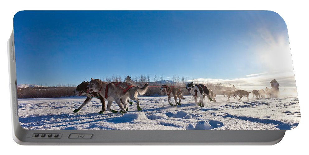 Action Portable Battery Charger featuring the photograph Dog Team Pulling Sled by Stephan Pietzko