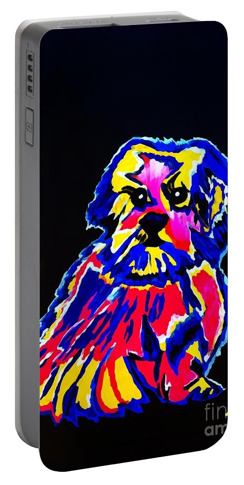 Dog Portable Battery Charger featuring the painting Dog Tibetin Lhasa Apsos by Saundra Myles