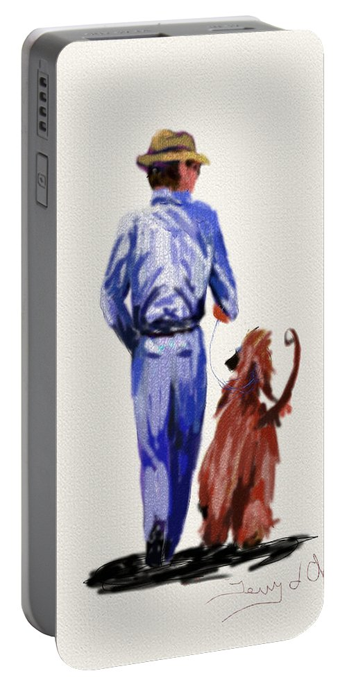 Ipad Paintings Portable Battery Charger featuring the painting Dog Walker by Terry Chacon