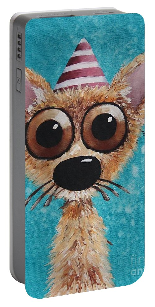 Whimsical Portable Battery Charger featuring the painting Dogitude by Lucia Stewart