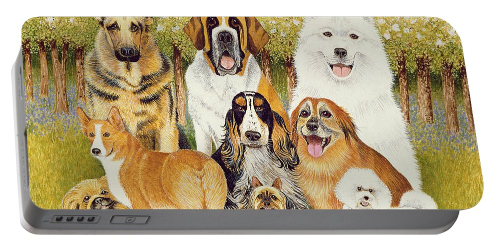 Dog Portable Battery Charger featuring the painting Dogs In May by Pat Scott