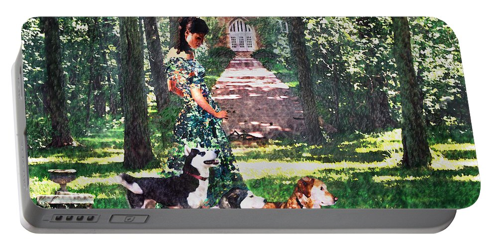 Landscape Portable Battery Charger featuring the photograph Dogs Lay At Her Feet by Steve Karol