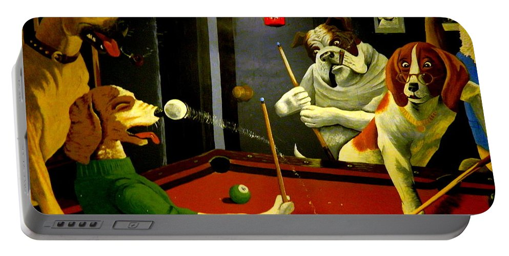 Pool Portable Battery Charger featuring the photograph Dogs Playing Pool Wall Art Unknown Painter by Kathy Barney
