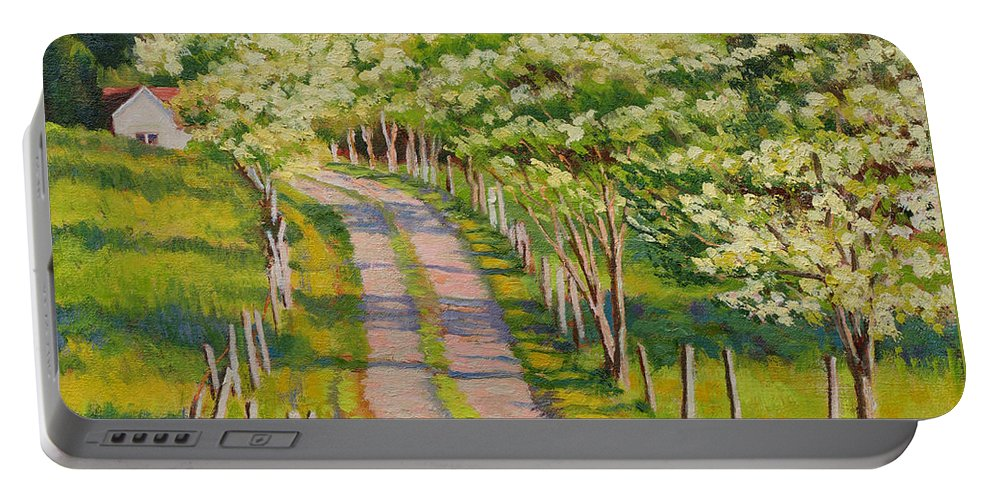 Impressionism Portable Battery Charger featuring the painting Dogwood Allee by Keith Burgess