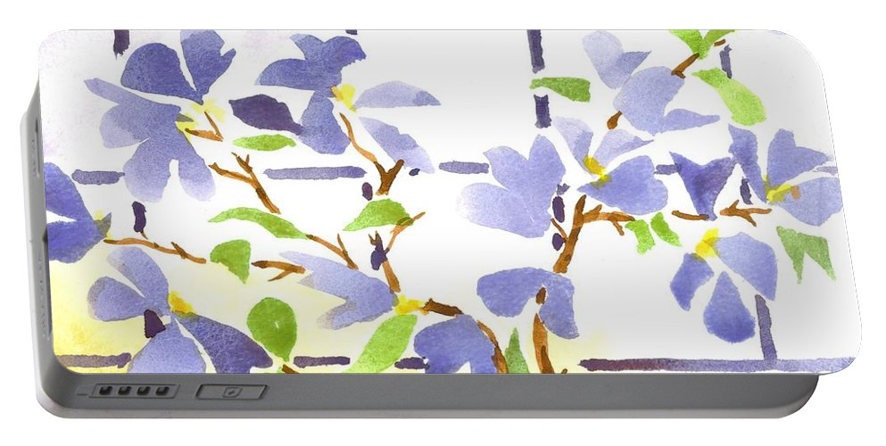 Dogwood In The Window Portable Battery Charger featuring the painting Dogwood In The Window by Kip DeVore