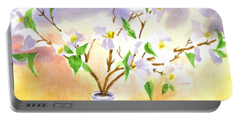 Dogwood In Watercolor Portable Battery Charger featuring the painting Dogwood In Watercolor by Kip DeVore