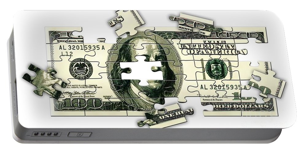 Money Portable Battery Charger featuring the digital art Dollar Puzzle-2 by Chris Van Es