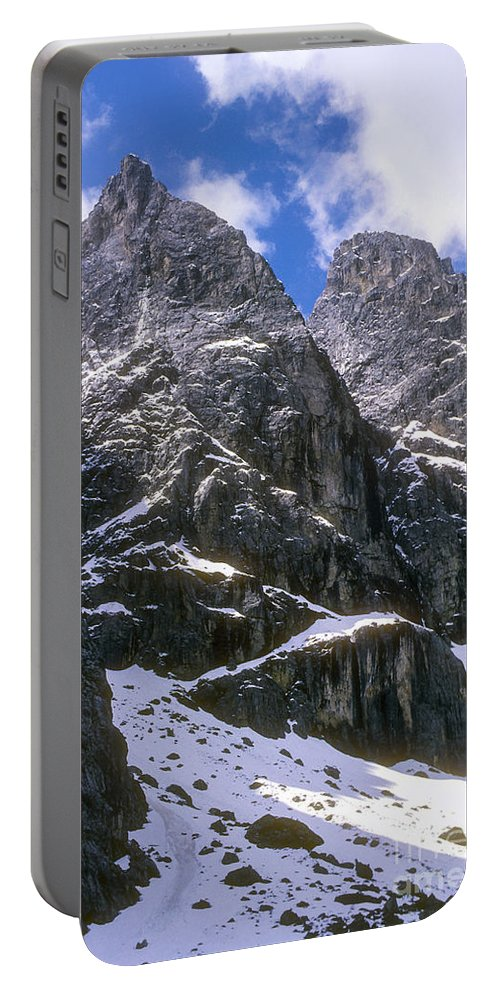 Dolomite Mountain Mountains Peaks Peak Snow Cloud Clouds Landscape Landscapes South Tyrol Tyrolean Alps Italy Snowscape Snowscapes Dolomites Portable Battery Charger featuring the photograph Dolomite Twin Peaks by Bob Phillips