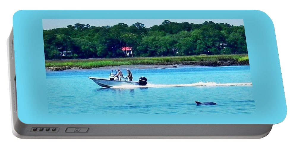 Dolphin Portable Battery Charger featuring the photograph Dolphin At Pigeon Point by Patricia Greer