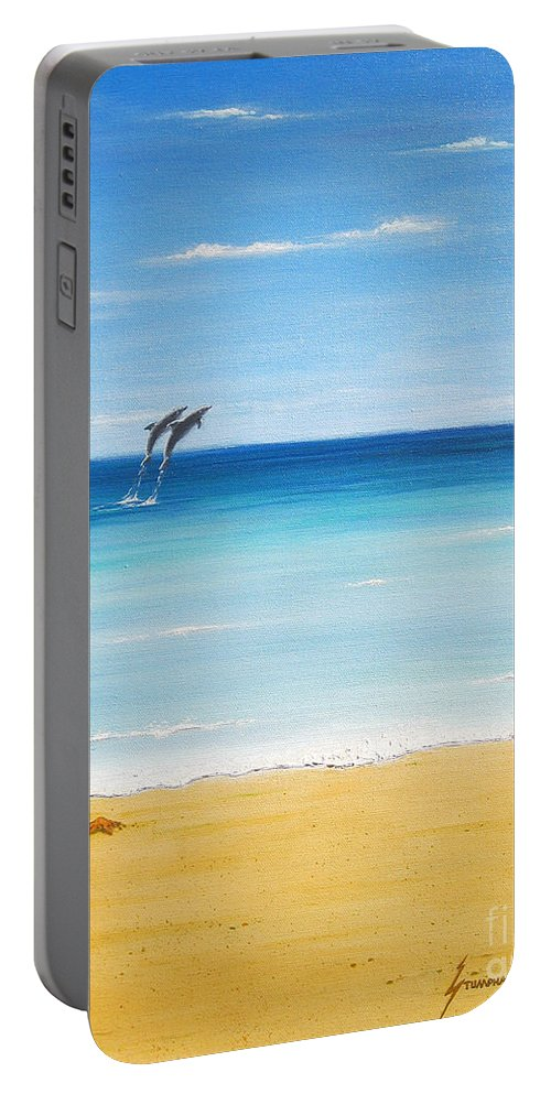 Dolphins Portable Battery Charger featuring the painting Dolphin Beach by Jerome Stumphauzer