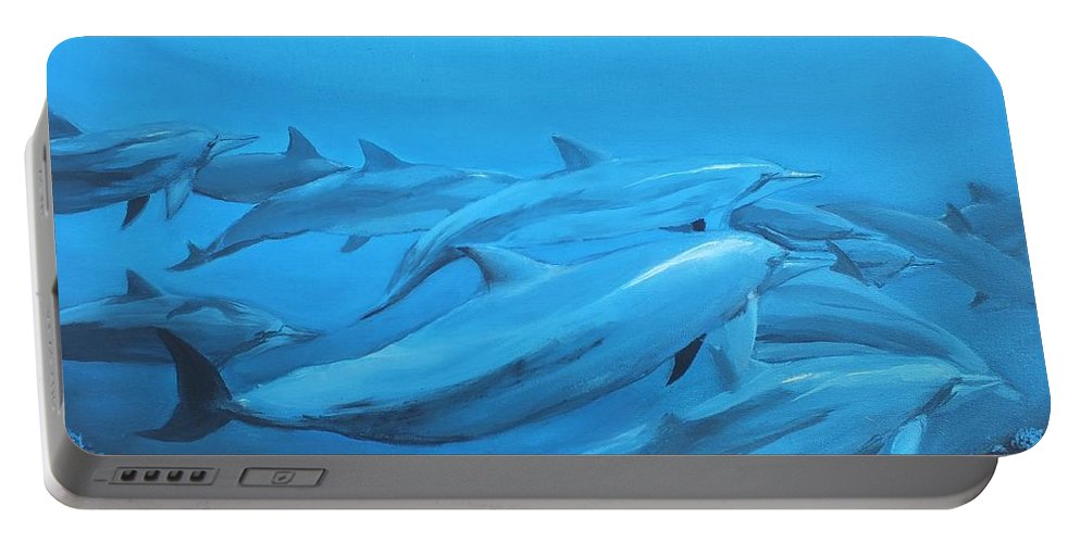 Dolphins Portable Battery Charger featuring the painting Dolphins by Jeremy Reed