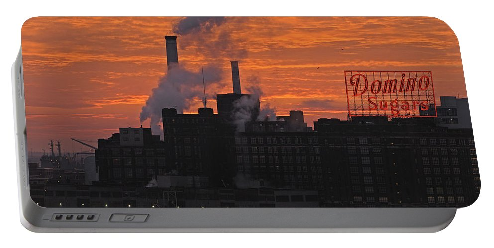 Baltimore Portable Battery Charger featuring the photograph Domino Sugars Sunrise by Ronald Dickey