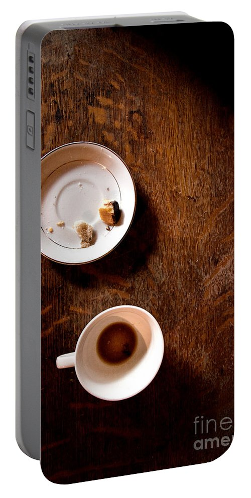 Table; Wood; Wooden; Shadows; Cup; Mug; Coffee; Empty; Drink; Drunk; Saucer; Plate; Food; Crumbs; Bread; Pastry; Pieces; Eaten; Eat; Breakfast; Brunch; Mystery; Mysterious; Foreboding; Dark; Darkness; Thriller Portable Battery Charger featuring the photograph Done by Margie Hurwich
