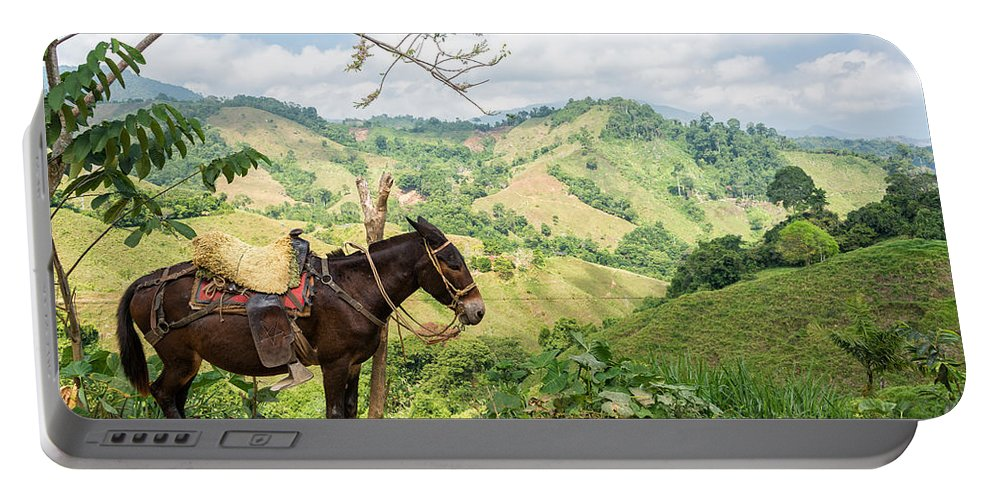 Donkey Portable Battery Charger featuring the photograph Donkey And Hills by Jess Kraft