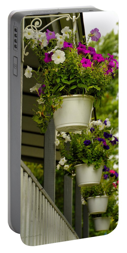 Donna Portable Battery Charger featuring the photograph Donna's Petunias by Thomas Woolworth